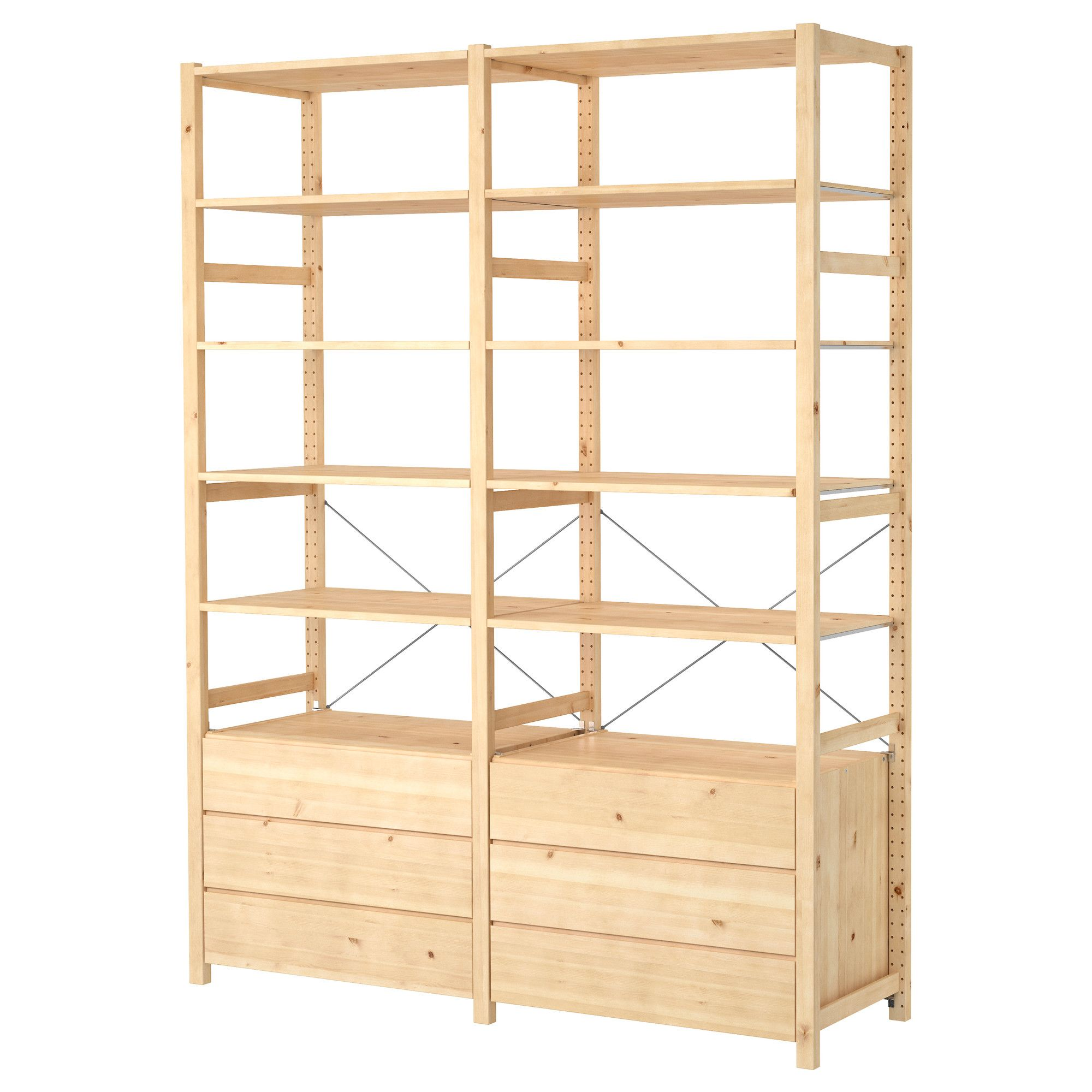 IVAR 2 section shelving unit with chest, pine