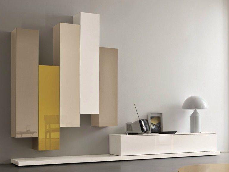 Parete attrezzata componibile laccata SLIM 5 by Dall\'Agnese design ...