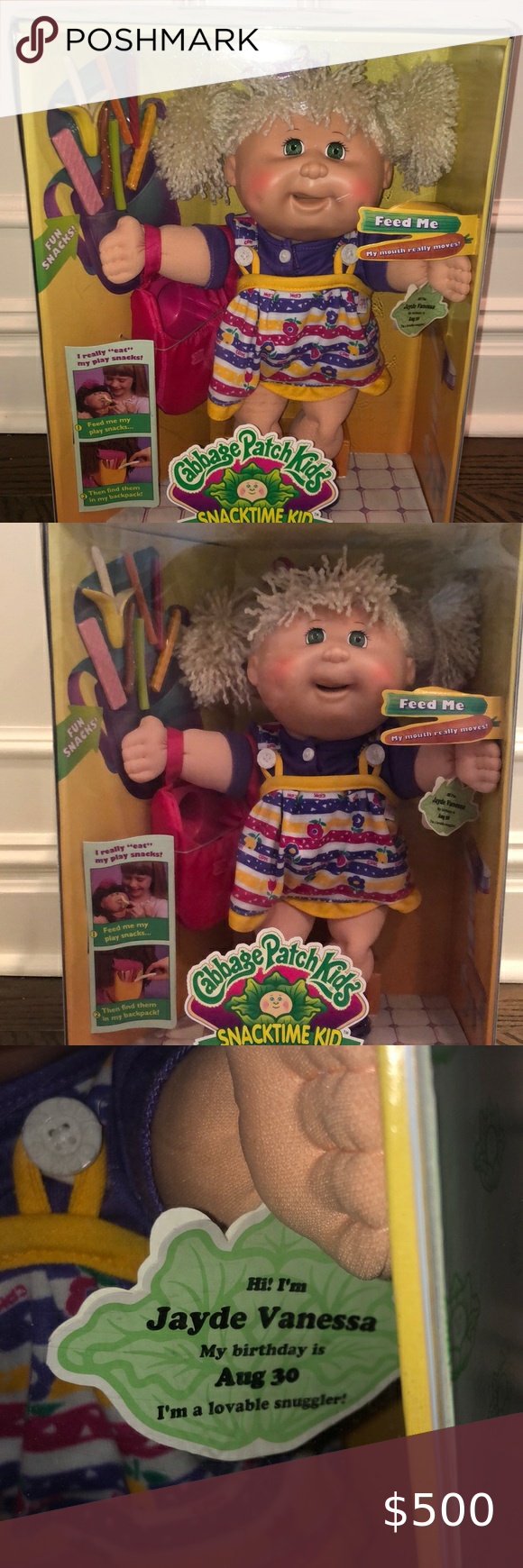 Rare 1995 Cabbage Patch Snacktime Kid Doll In Box Never Opened Excellent Condition Rare Discontinued Doll Vintage 1995 Child Doll Doll Toys Doll Accessories