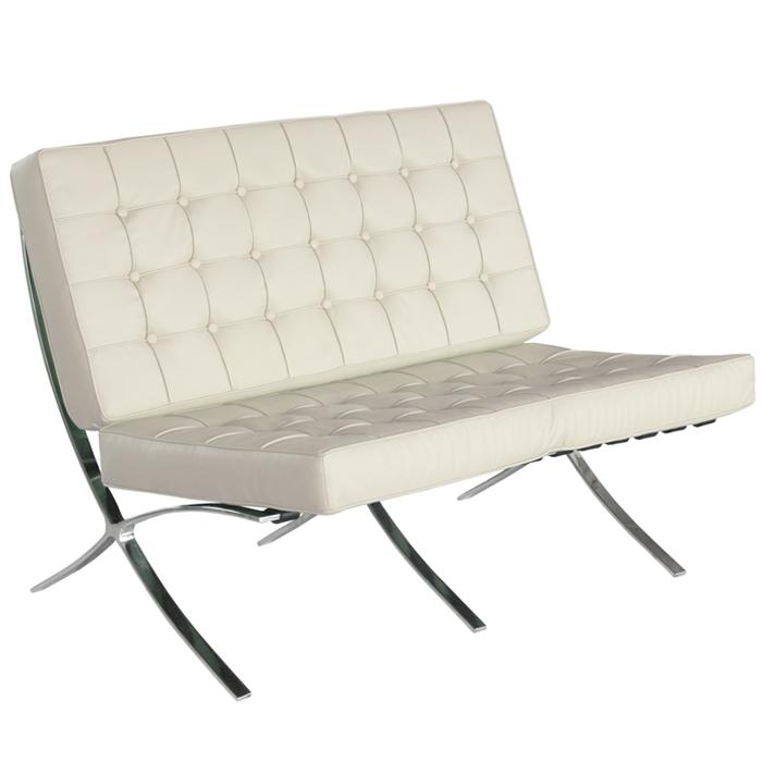 Barcelona Designer Cream Leather 2 Seater Sofa