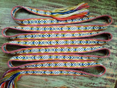 Tablet weaving inspired by finnish iron age. Pattern Maikki Karisto, number 29 in our book Applesies and Fox noses. Yarns natural dyed. Woven by Mervi Pasanen.