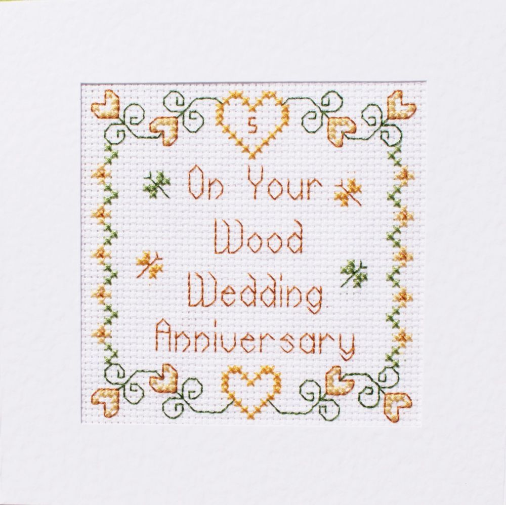 Details about 5th Wood Wedding Anniversary Card ღ Cross