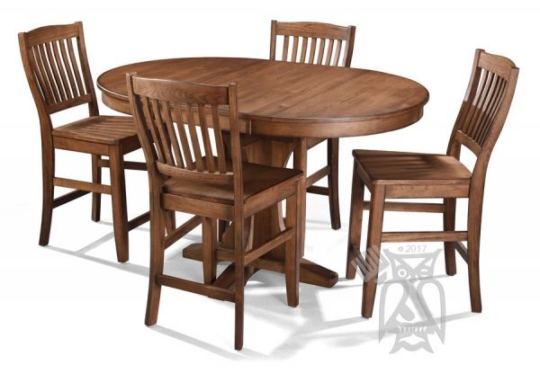 Solid Oak Wood Cimarron Canyon High Dining Round Extension Table & Stool Set | Wood dining room ...
