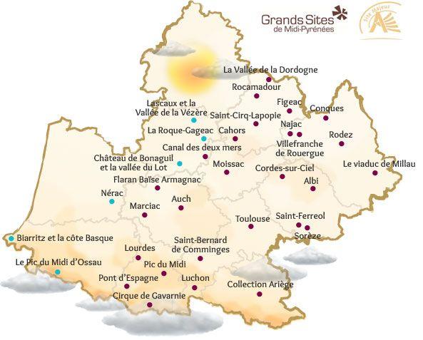 Carte Des Grands Sites Midi Pyrenees Wine Vineyard Pyrenees