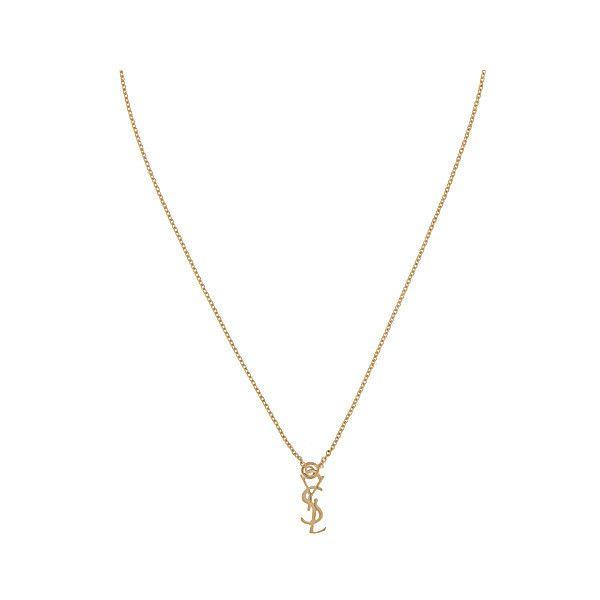 5dc3a5e2de2 SAINT LAURENT Monogram necklace ($365) ❤ liked on Polyvore featuring jewelry,  necklaces, accessories, clasp charms, monogram charm necklace, ...