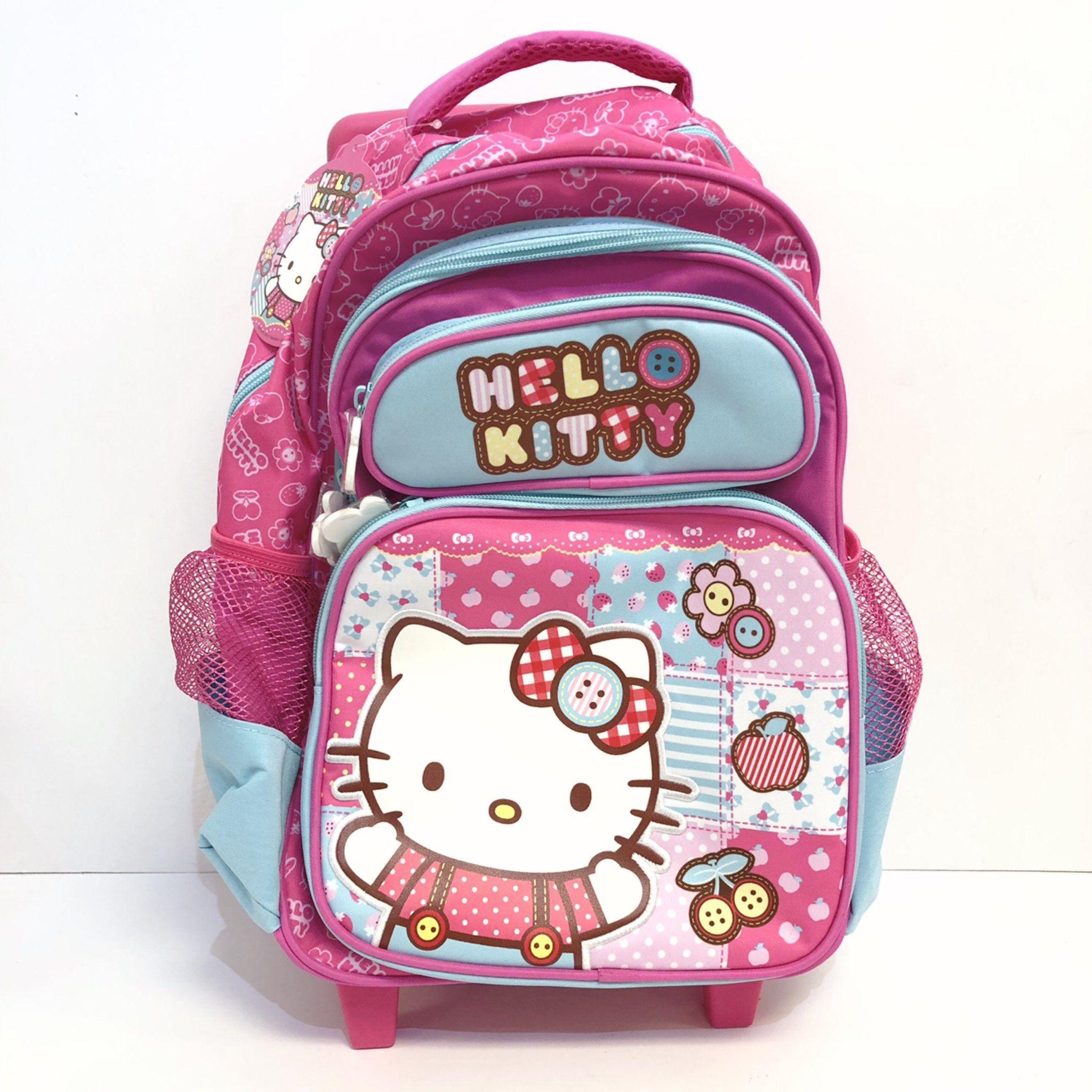 "0b299c1ad33d Hello Kitty Patchwork Trolley 16"" Backpack – Sanrio Monrovia"