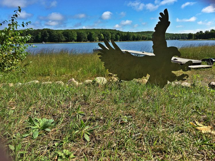 The eagle metal art design makes a great outdoor decoration for a cottage, shed, cabin or other outdoorsy property.