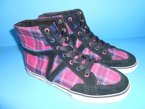 Girls Vans Corrie Hi Hightop Skate Shoes Size 3 5 Plaid Fushia Pink Black Mint | eBay