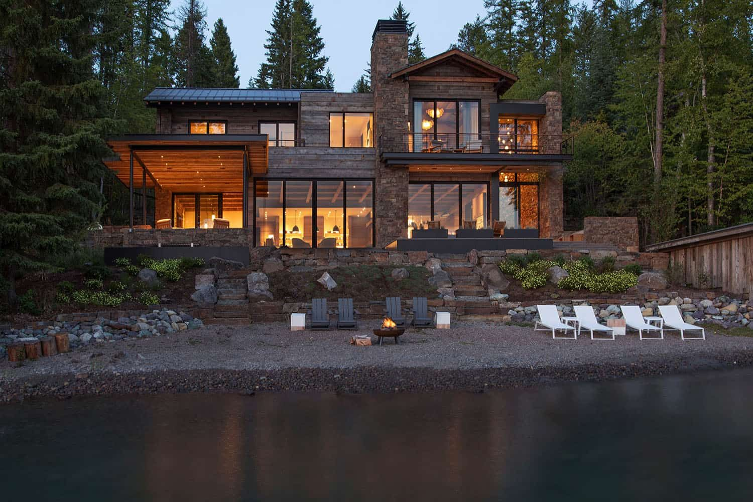 This Mountain Modern Lakefront Home In Montana Is All About Zen Lakefront Homes Mountain Modern Modern Lake House