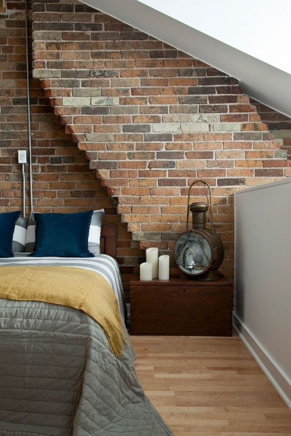 When creating a new attic loft space think about keeping a wall of exposed industrial bedroom designindustrial chicindustrial revolutionbrick