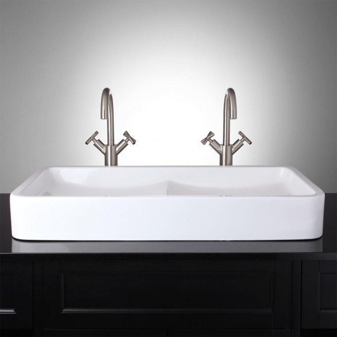 Pottery With Solid Surface Finish Vessel Sink