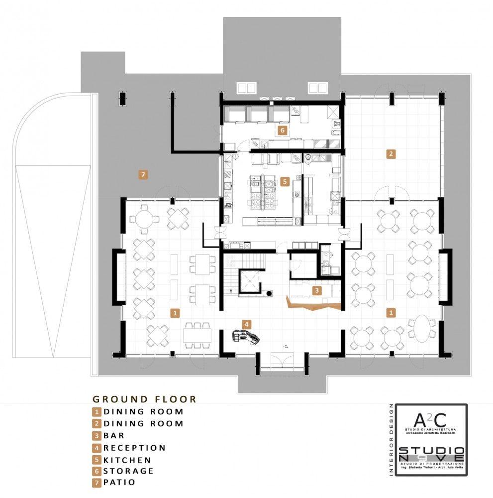 Inkiostro Restaurant Studio Nove A2c Floor Plan Planta