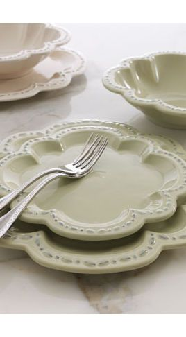 Quatrefoil-pretty dinnerware pieces look even better in layers. Each piece is scalloped in & Quatrefoil-pretty dinnerware pieces look even better in layers. Each ...