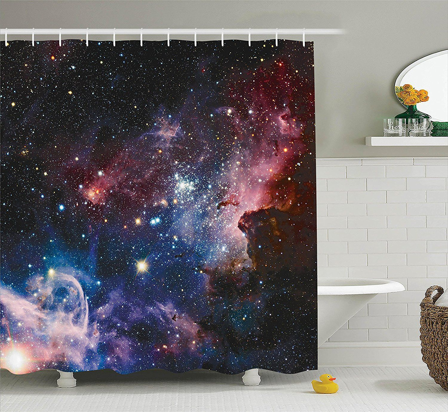 In your orbit galaxy sky fabric shower curtain fabrics and products