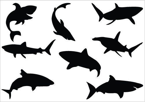 Shark Silhouette Vector, ideal for ocean and sea vector ...
