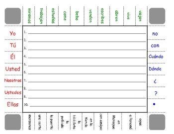 spanish regular verbs ar er ir sentence formation practice activity ideas for teaching. Black Bedroom Furniture Sets. Home Design Ideas