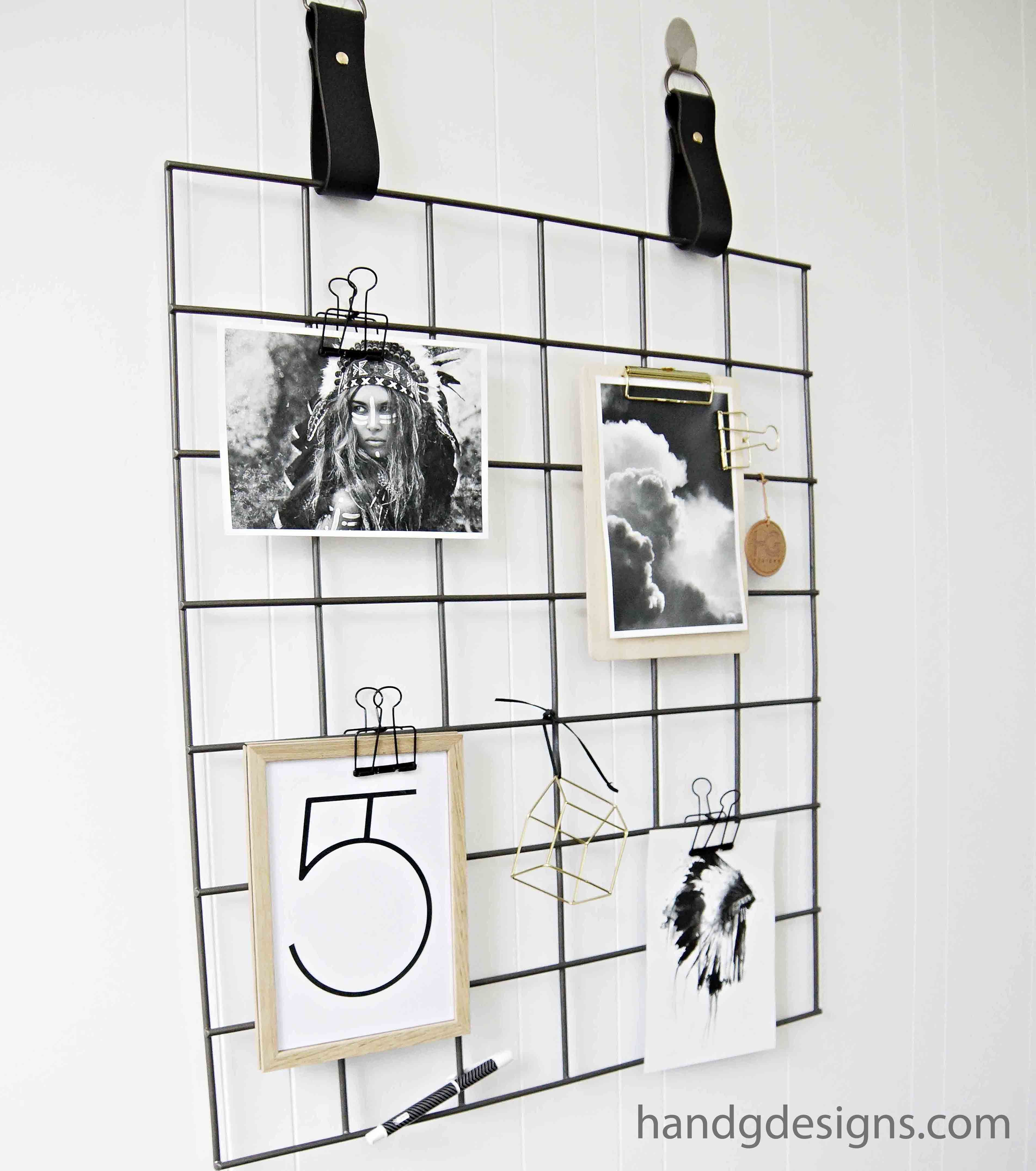 Grid Mood Board with Leather Straps by H and G Designs. Black Grid ...