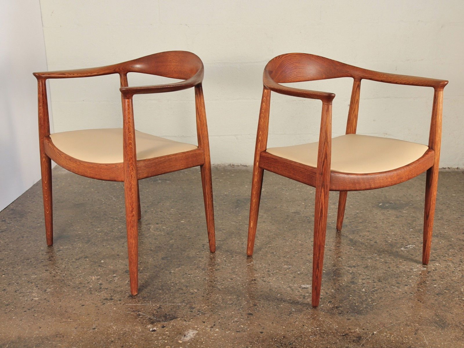 pair of 1950s hans wegner round chairs teak scandinavian danish