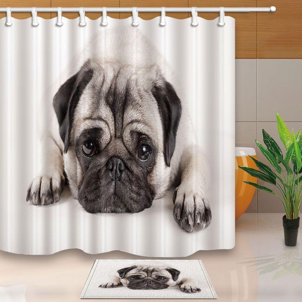 9 19 Lovely Animal Pug Puppy Dog Polyester Fabric Shower