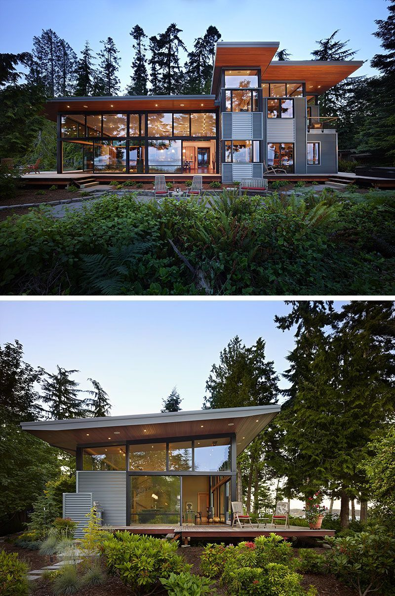 20 Awesome Examples Of Pacific Northwest Architecture Walls Of Windows Let Light Flood Into This Forest Hom Architecture House Eco House Design Architecture