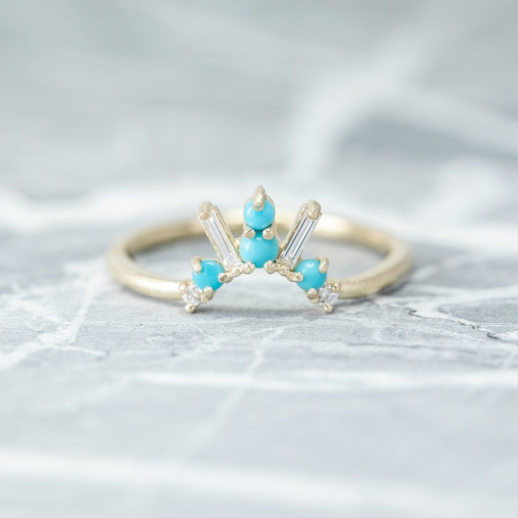 e2a8f85c82293 Sedona Turquoise and diamond basket contour band, 14k Yellow Gold in ...