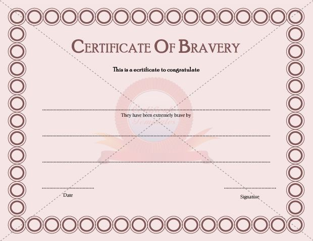 bravery certificate template certificate templates free printable certificate