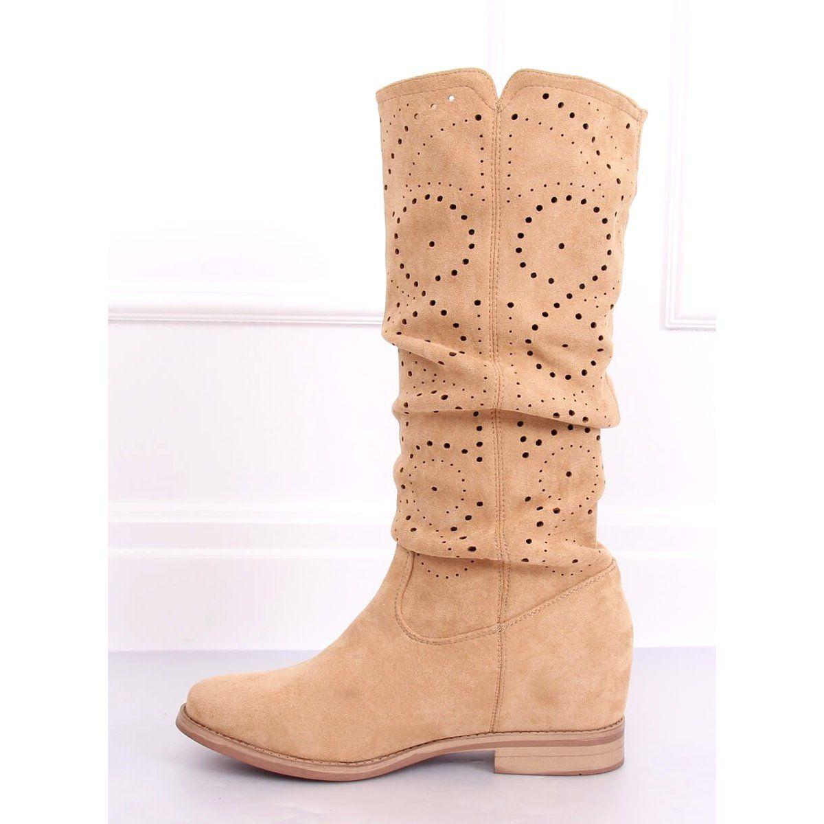 Kozaki Azurowe Na Koturnie Bezowe Nc1015 Beige Bezowy Boots Wedge Boot Shoes