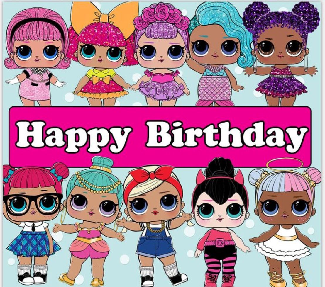 Картинки, открытка с днем рождения с куклой лол