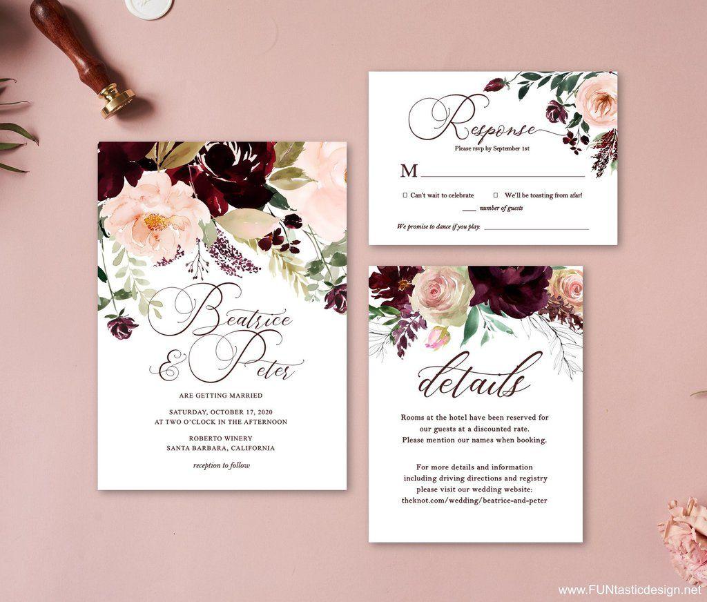 Wine And Cream Wedding Invitation Set Burgundy Invitations Wedding Invitation Packages Cream Wedding Invitations Flower Wedding Invitation