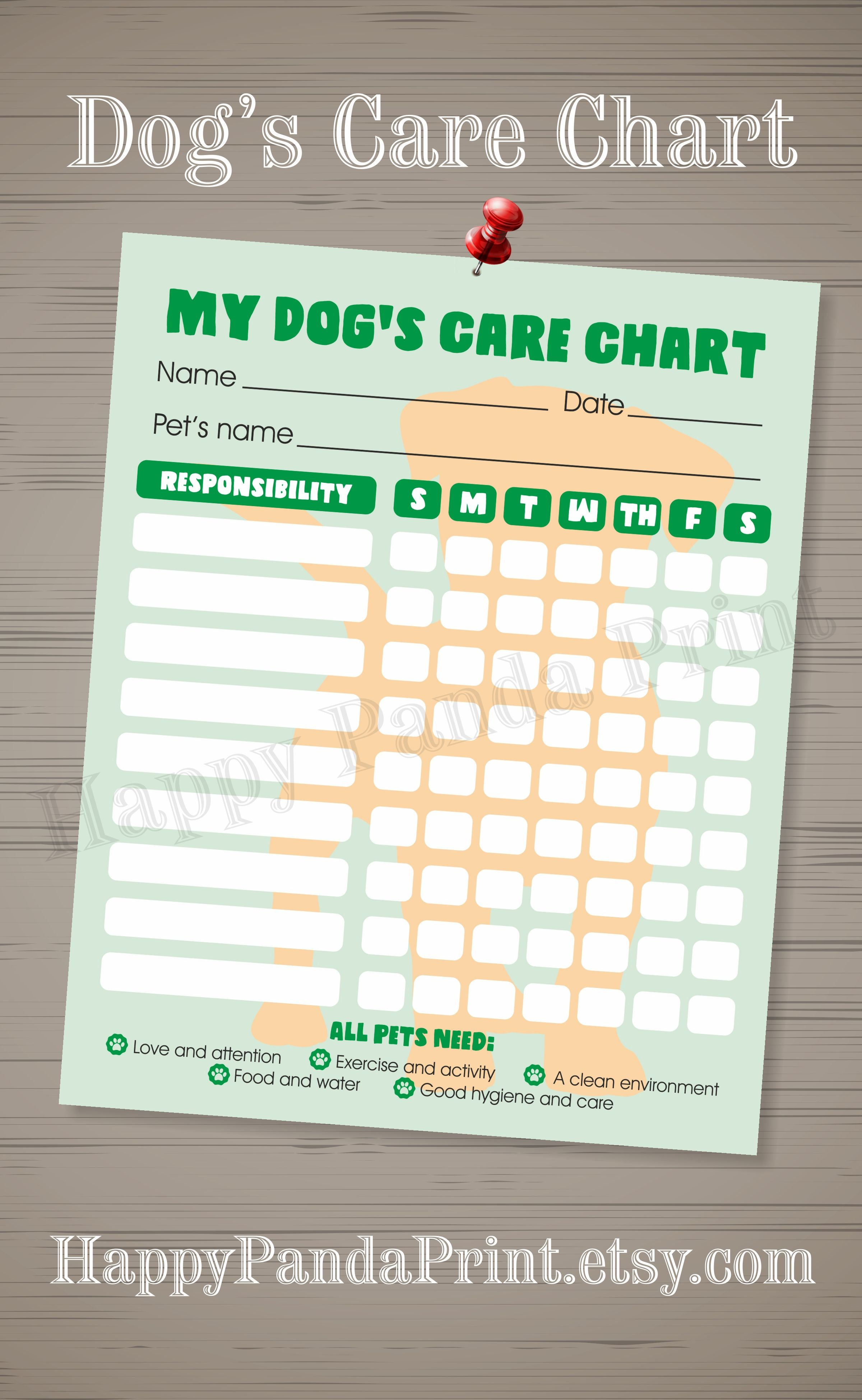 free printable charts and checklists. PET Responsibility Chart, Dog Resposibility Care Checklist, Free Printable Charts And Checklists