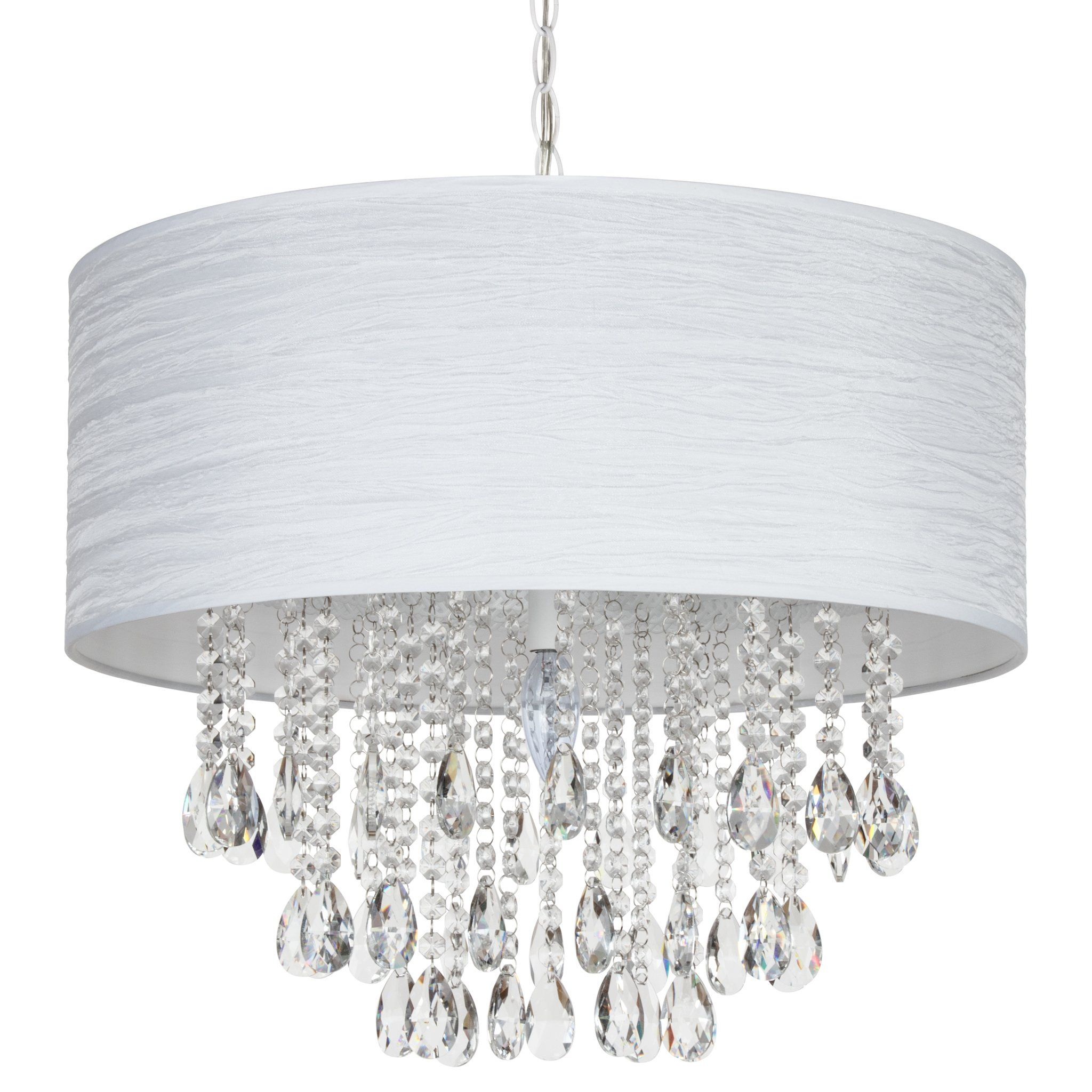 Large 5 Light Crystal Plug In Chandelier With Cylinder Shade White Plug In Chandelier Hanging Ceiling Lamps Glass Pendant Light