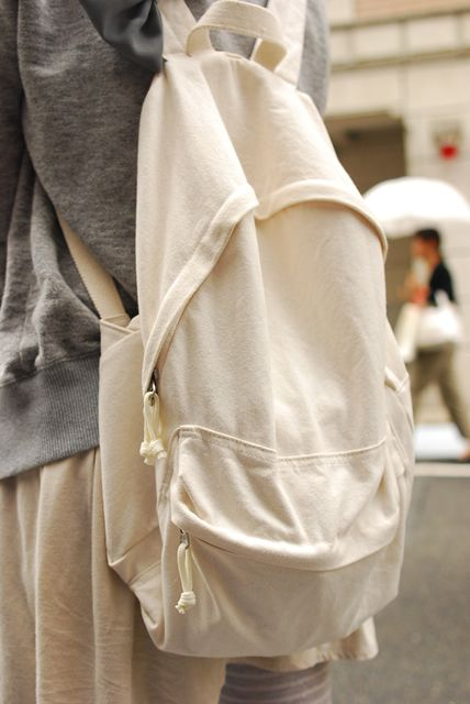 cream canvas backpack