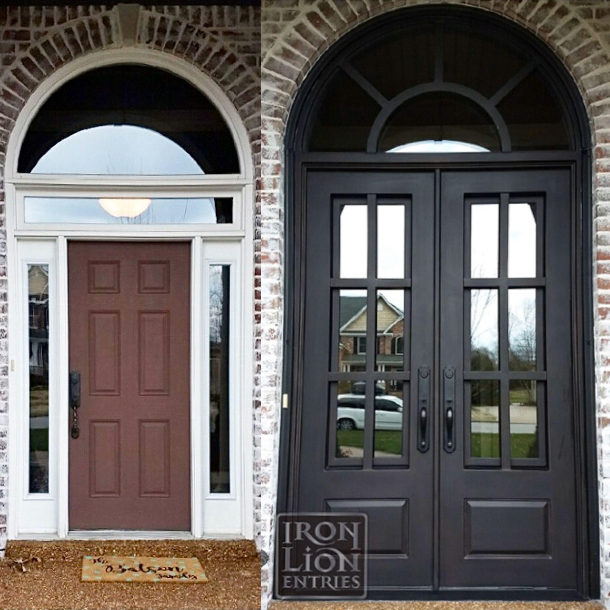 Single Door To Double Door Transformation In 2020 Exterior Doors With Sidelights Iron Front Door Double Door Entryway