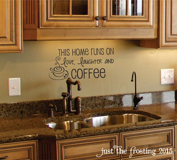 Coffee Wall Decal Coffee Decor Kitchen Wall Decal Family - Custom vinyl wall decals for kitchen backsplash
