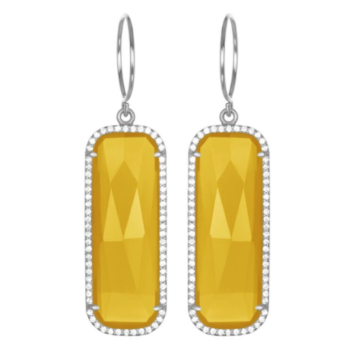 Our Paris grand earring radiates sophistication. These statement earrings are brilliantly faceted with a beautiful yellow stone highlighted by clear pavé cr...