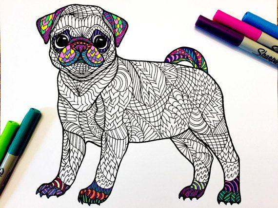Pug Puppy - PDF Zentangle Coloring Page | Puppies | Pinterest | Pug ...