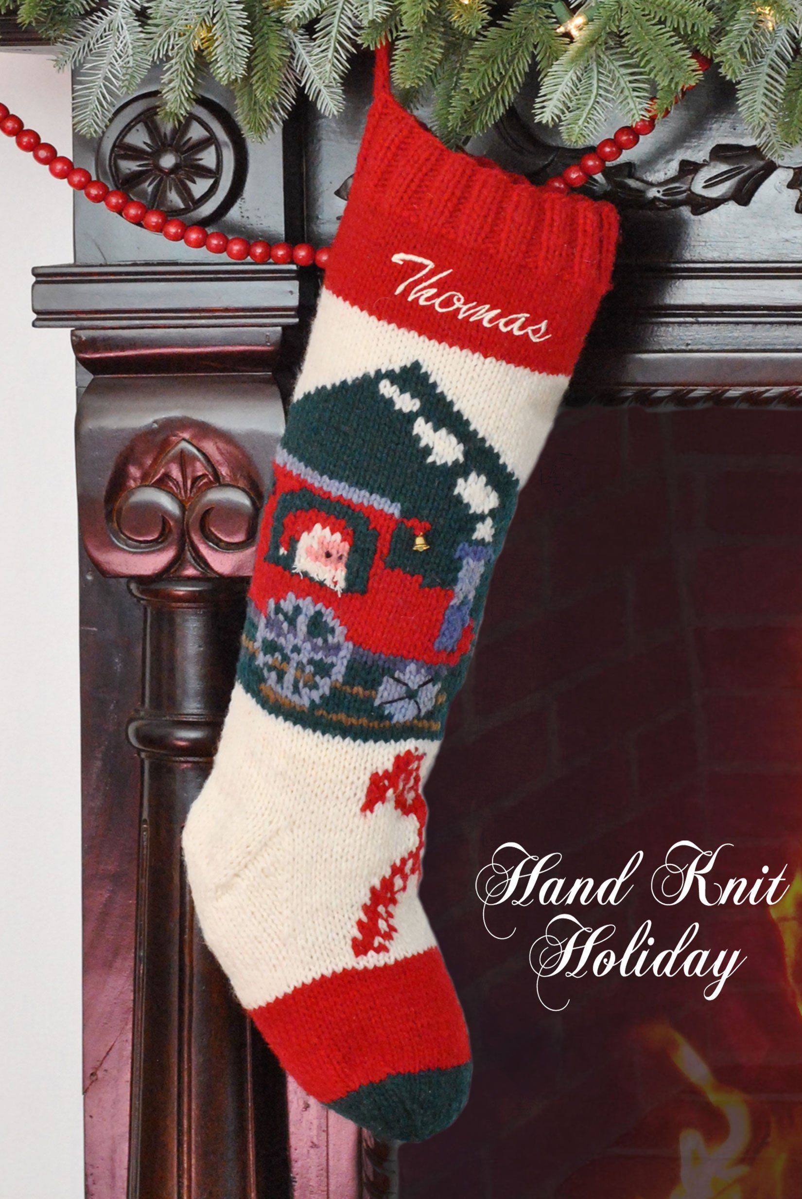 Bernat Hand Knit Personalized Christmas Train Stocking | Christmas ...