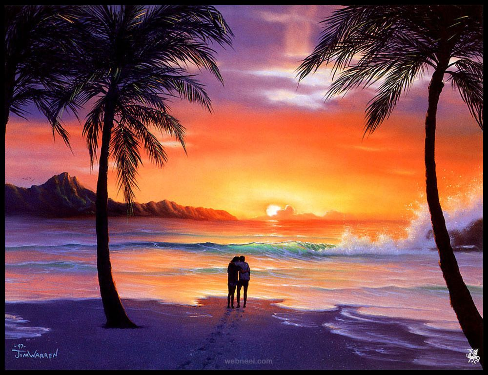 50 Beautiful Sunrise Sunset And Moon Paintings For Your Inspiration Sunset Landscape Painting Beach Sunset Painting Sunset Painting