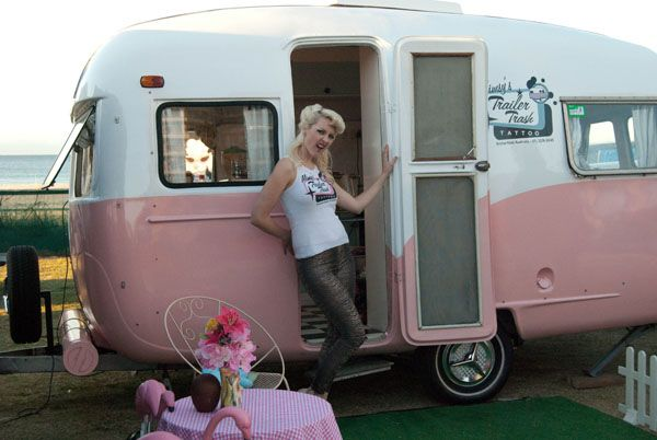 Vintage camper she made into a mobile tattoo parlor vintage camper addiction part deux - Mobeltattoo vintage ...