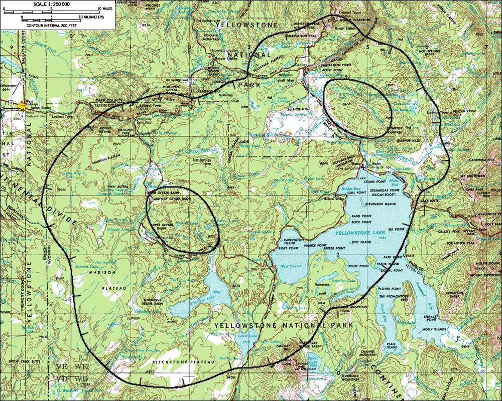 Outlines of calderas in the Yellowstone area. | Useful Maps ...