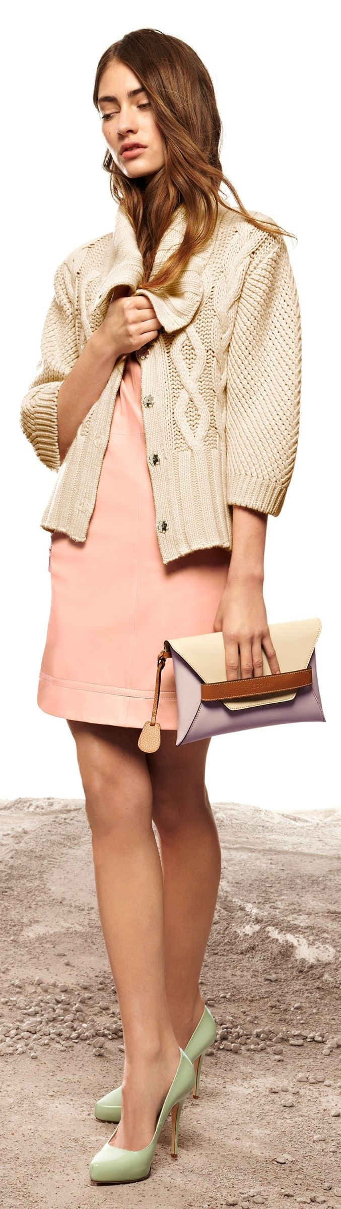 Shoes for pink dress  Escada    Bag Lady  Pinterest  Green shoes Pink dresses
