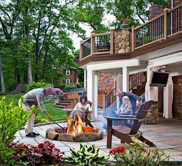 Outdoor Patio Under Deck With Hot Tub Area Outdoor Fire Pit