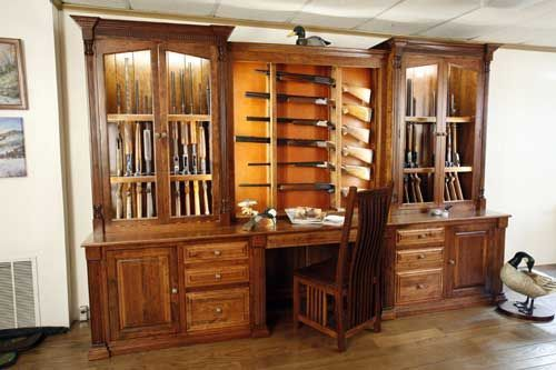 custom built in gun cabinet | custom made amish made custom gun