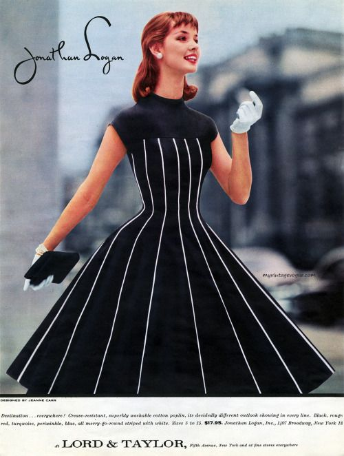 47a42a9b9657 Jonathan Logan designed by Jeanne Carr 1956 Retro Fashion, Fifties Fashion,  Timeless Fashion,