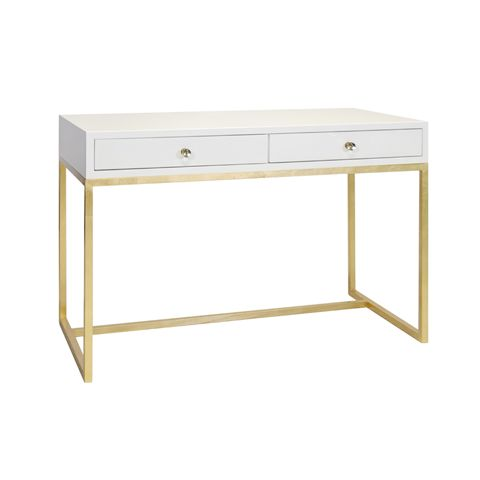 white and gold vanity table. This lovely desk features a gold leaf base with white lacquer top  The Worlds Away William White Lacquer Desk on Gold Leaf Base