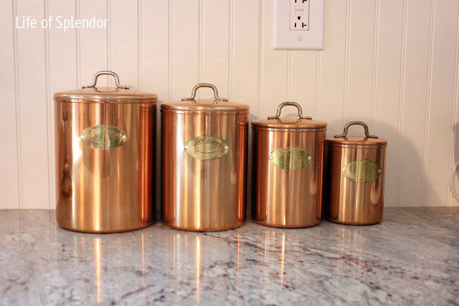 vintage kitchen canister set vintage copper kitchen canisters kitchen 22585