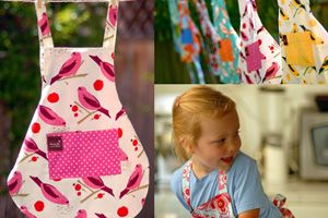 Ferris Pink Reversible organic cotton apron. Matching one available for Mom. Mother's Day idea