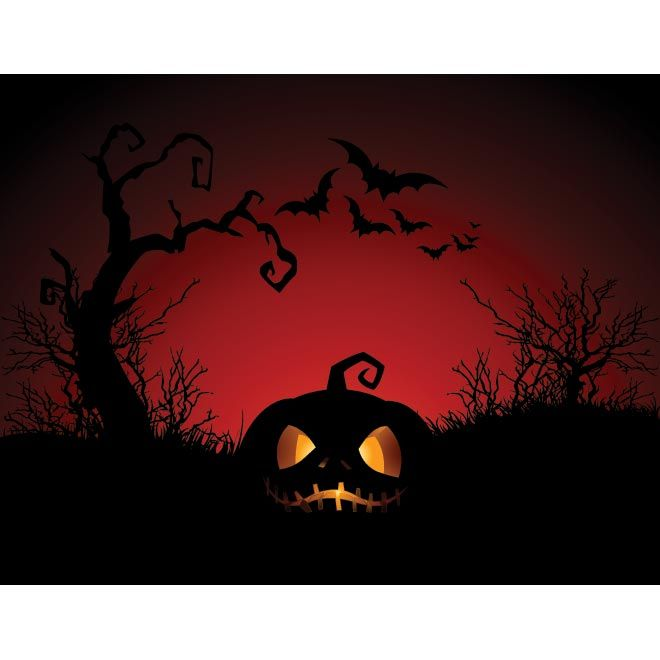 Glowing Pumpkin With Bats Flying In Background Old Tree Red Scary Template Illustration Halloween Coloring Book Halloween Canvas Diy Canvas Art Painting
