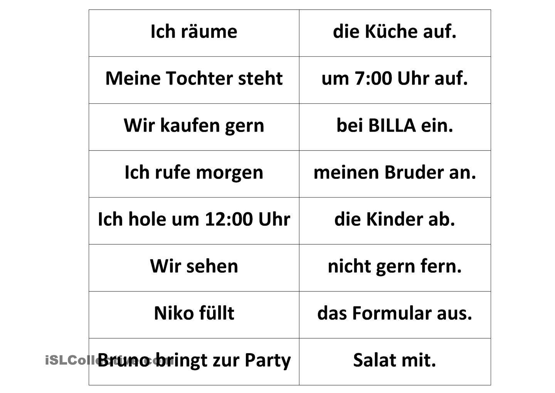 Memory trennbare Verben | German, German resources and German language