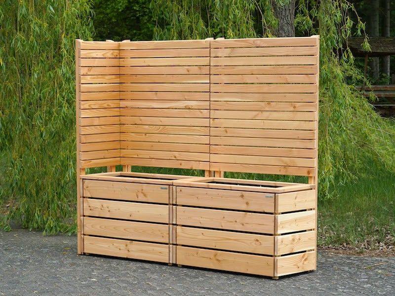 Sichtschutz nach Maß als Ecke mit Pflankasten Holz Lang L